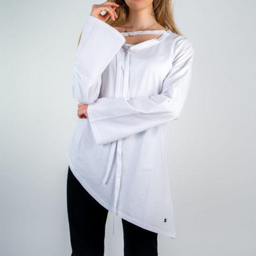 Donna - T-shirt in jersey manica lunga con laccio